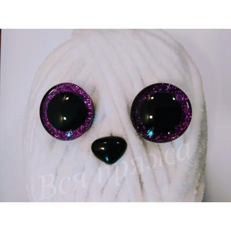 Глазки безопасные для игрушек. 25 мм. Фиолетовый. Пара