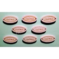 """Бирка деревянная """"Hand made"""" пришивная. Светло-розовый. 27 х 13 мм."""