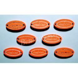 "Бирка деревянная ""Hand made"" пришивная. Оранжевый. 27 х 13 мм."