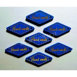 """Бирка деревянная """"Hand made"""" пришивная. Синий. 27 х 13 мм."""