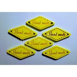 """Бирка деревянная """"Hand made"""" пришивная. Желтый. 27 х 13 мм"""