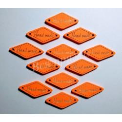 "Бирка деревянная ""Hand made"" пришивная. Оранжевый. 27 х 13 мм"