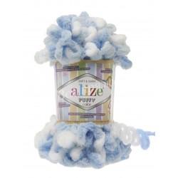 PUFFY COLOR Alize 5865 (Голубой/Белый)