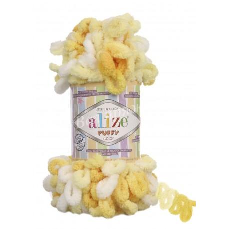 PUFFY COLOR Alize 5921 (Желтый/Белый)