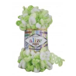 PUFFY COLOR Alize 5937 (Салатовый-Белый)