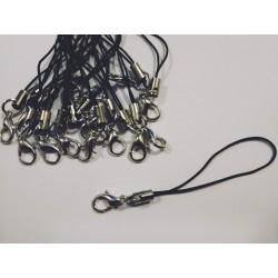 Шнурок для брелка черный с карабином
