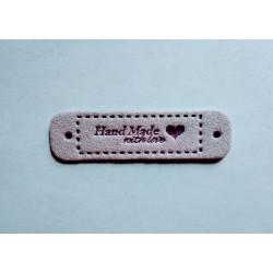 "Бирка пришивная ""Hand Made with love"" 55 х 15 мм. Лаванда"