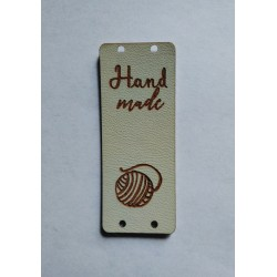 """Бирка пришивная """"Hand made"""" 50 х 20 мм. Молочный"""