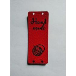 """Бирка пришивная """"Hand made"""" 50 х 20 мм. Красный"""
