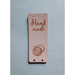 "Бирка пришивная ""Hand made"" 50 х 20 мм. Светло-розовый"
