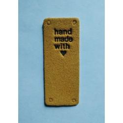 """Бирка пришивная """"Hand made with love"""" 50 х 20 мм. Темно-желтый"""