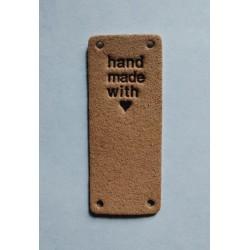 """Бирка пришивная """"Hand made with love"""" 50 х 20 мм. Пудра"""