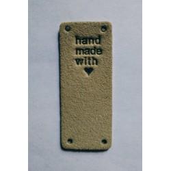 """Бирка пришивная """"Hand made"""" 50 х 20 мм. Бежевый"""