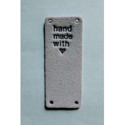 "Бирка пришивная ""Hand made with love"" 50 х 20 мм. Лаванда"