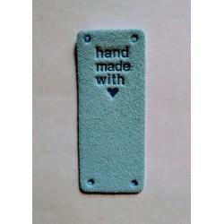 """Бирка пришивная """"Hand made with love"""" 50 х 20 мм. Голубой"""