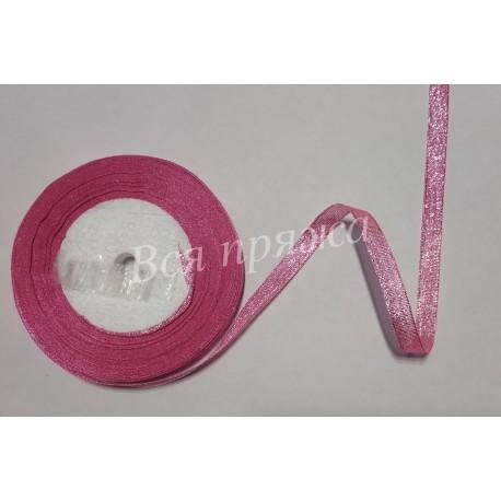 Лента с люрексом. 10 мм. Розовый. 1 метр