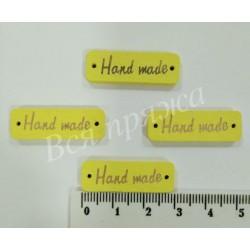 """Бирка деревянная пришивная """"Hand Made"""". Желтый. 30 х 10 мм"""