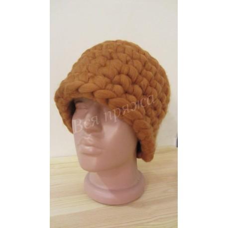 Вязаная 100% шерстяная шапка